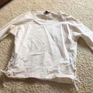 white 3 quarter length shirt